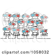 Royalty Free Vector Clip Art Illustration Of A Group Of Stick People Watching A 3d Movie