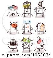 Royalty Free Vector Clip Art Illustration Of A Digital Collage Of Stick Men In Costumes