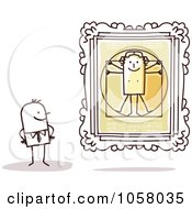 Royalty Free Vector Clip Art Illustration Of A Stick Man Viewing The Vitruvian Man In An Art Gallery by NL shop