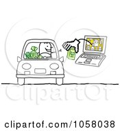 Royalty Free Vector Clip Art Illustration Of A Laptop Man Handing Cash To A Stick Man In A Car