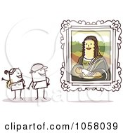 Royalty Free Vector Clip Art Illustration Of A Stick Couple Viewing The Mona Lisa In An Art Gallery by NL shop