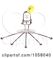 Royalty Free Vector Clip Art Illustration Of A Stick Businessman Trying To Decide Which Way To Go