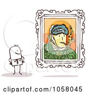 Royalty Free Vector Clip Art Illustration Of A Stick Man Viewing A Van Gogh Self Portrait In An Art Gallery by NL shop