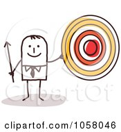 Royalty Free Vector Clip Art Illustration Of A Stick Businessman Holding A Target