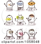 Royalty Free Vector Clip Art Illustration Of A Digital Collage Of Happy Stick Men