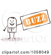 Royalty Free Vector Clip Art Illustration Of A Stick Businessman Holding A Buzz Sign