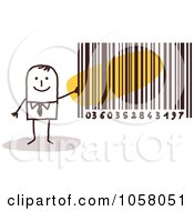 Royalty Free Vector Clip Art Illustration Of A Stick Businessman Holding A Bar Code