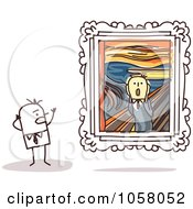 Royalty Free Vector Clip Art Illustration Of A Stick Man Viewing The Scream In An Art Gallery by NL shop
