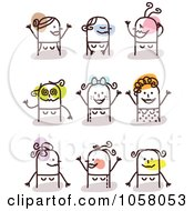 Royalty Free Vector Clip Art Illustration Of A Digital Collage Of Happy Stick Women