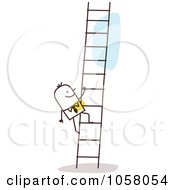 Royalty Free Vector Clip Art Illustration Of A Stick Businessman Climbing A Ladder