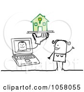 Royalty Free Vector Clip Art Illustration Of A Laptop Man Giving A Stick Woman A House by NL shop