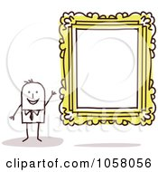 Royalty Free Vector Clip Art Illustration Of A Stick Man Presenting A Blank Frame In An Art Gallery by NL shop