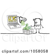 Royalty Free Vector Clip Art Illustration Of A Laptop Man Giving A Stick Woman Cash