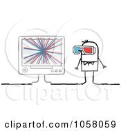 Stick Man Watching A 3d Movie On A Monitor