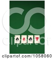 Royalty Free CGI Clip Art Illustration Of Four 3d Ace Playing Cards On Green Felt