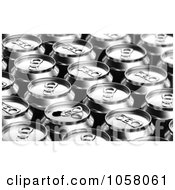 Royalty Free CGI Clip Art Illustration Of A 3d Opened Soda Can Mixed In With Sealed Cans by stockillustrations