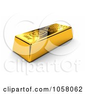 Royalty Free CGI Clip Art Illustration Of A 3d Golden Bullion Bar