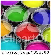 Royalty Free CGI Clip Art Illustration Of A Background Of Colorful 3d Buckets Of Paint 1