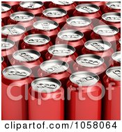 Royalty Free CGI Clip Art Illustration Of 3d Red Soda Cans