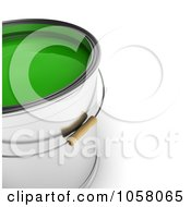Royalty Free CGI Clip Art Illustration Of A 3d Bucket Of Green Paint
