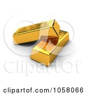 Royalty Free CGI Clip Art Illustration Of Two 3d Golden Bullion Bars