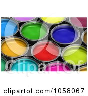 Royalty Free CGI Clip Art Illustration Of A Background Of Colorful 3d Buckets Of Paint 2