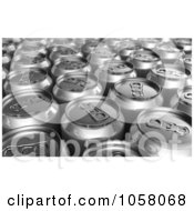 Royalty Free CGI Clip Art Illustration Of 3d Silver Soda Cans