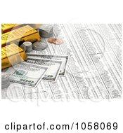 3d Golden Bullion Bars Coins And Hundred Dollar Bills On A Stock Chart