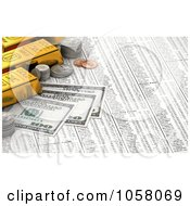 Royalty Free CGI Clip Art Illustration Of A 3d Golden Bullion Bars Coins And Hundred Dollar Bills On A Stock Chart