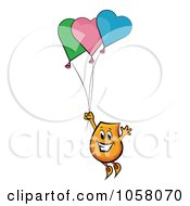 Royalty Free Vector Clip Art Illustration Of An Orange Blinky Floating Away With Heart Balloons