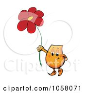 Royalty Free Vector Clip Art Illustration Of An Orange Blinky Holding Up A Red Daisy