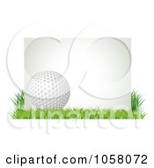 3d Golf Ball With A Blank Sign In Grass