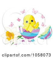 Royalty Free Vector Clip Art Illustration Of A Cute Easter Chick In A Decorated Egg Shell With Butterflies And A Daffodil