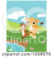Royalty Free Vector Clip Art Illustration Of A Happy Little Lion Following A Ferret To A Pond by Pushkin