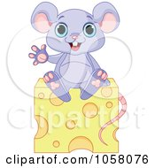 Royalty Free Vector Clip Art Illustration Of A Cute Purple Mouse Waving On Cheese by Pushkin