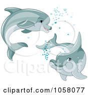 Royalty Free Vector Clip Art Illustration Of Two Cute Dolphins Swimming With Bubbles by Pushkin