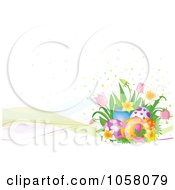 Royalty Free Vector Clip Art Illustration Of An Easter Background Of Mesh Waves With Eggs Dots And Spring Flowers by Pushkin