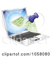 Royalty Free Vector Clip Art Illustration Of A 3d Map Coming Out Of A Laptop Screen