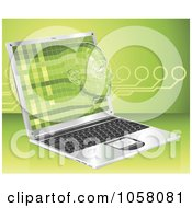Royalty Free Vector Clip Art Illustration Of A 3d Virtual Face Emerging From A Laptop by AtStockIllustration