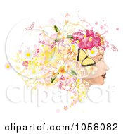 Royalty Free Vector Clip Art Illustration Of A Profiled Womans Face With Floral Butterfly And Grunge Hair by AtStockIllustration