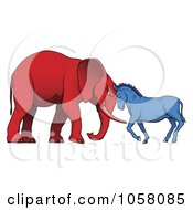 Royalty Free Vector Clip Art Illustration Of A Democratic Donkey And Republican Elephant Facing Off