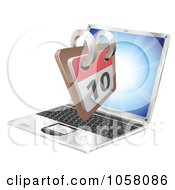 Royalty Free Vector Clip Art Illustration Of A 3d Calendar Coming Out Of A Laptop Screen
