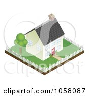 Royalty Free Vector Clip Art Illustration Of A 3d Little House And Fenced Property by AtStockIllustration
