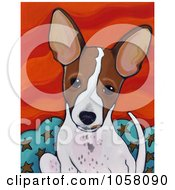 Painting Of A Cute Brown And White Puppy With Large Ears