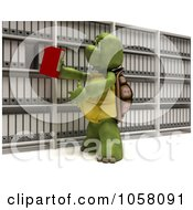 Royalty Free CGI Clip Art Illustration Of A 3d Tortoise Putting A Binder Back In Shelves Of Archives