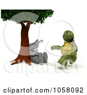 Royalty Free CGI Clip Art Illustration Of A 3d Tortoise Running Past A Napping Hare