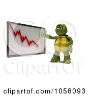 Royalty Free CGI Clip Art Illustration Of A 3d Tortoise Discussing A Decline Chart