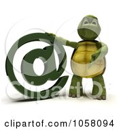 3d Tortoise With An Email Symbol