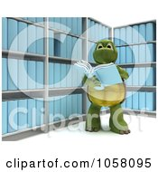 Royalty Free CGI Clip Art Illustration Of A 3d Tortoise Reading Information In A Room Of Archives