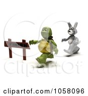 3d Tortoise Running In Front Of A Hare